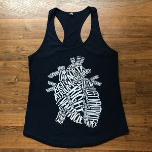 Navy Heart Tank Racerback Anatomical White Font